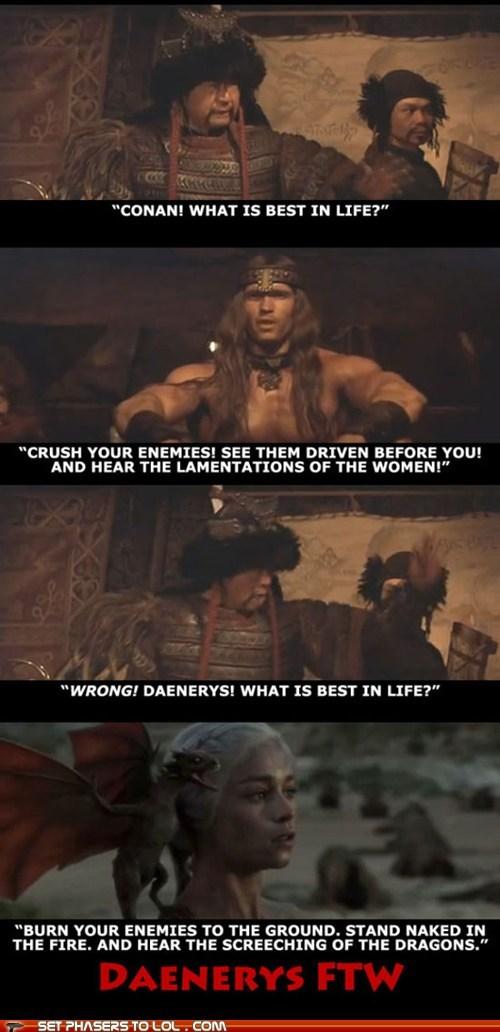 arnold schwartzenegger best Conan the Barbarian Daenerys Targaryen dragon Emilia Clarke enemies Game of Thrones