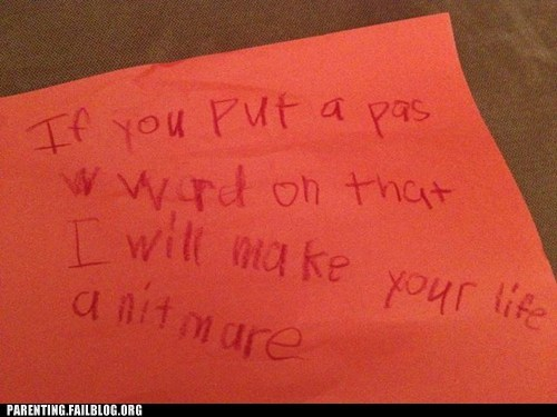 childrens-writing,napkin,nightmare,password,warning