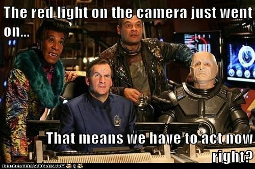 acting arnold rimmer camera chris barrie confused craig charles danny john-jules dave lister kryten light red dwarf robert llewellyn the cat - 6233680896