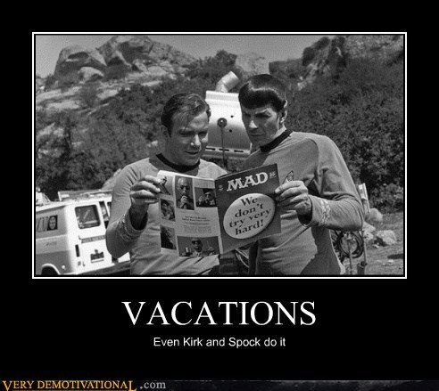 hilarious,kirk,Spock,Star Trek,vacations