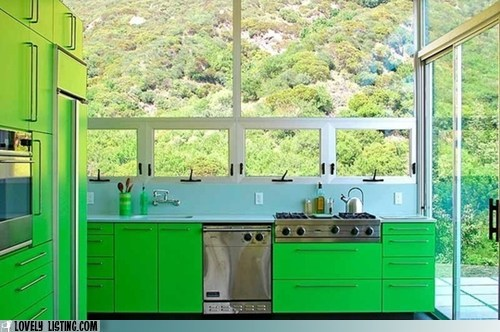 bright,green,kitchen,windows