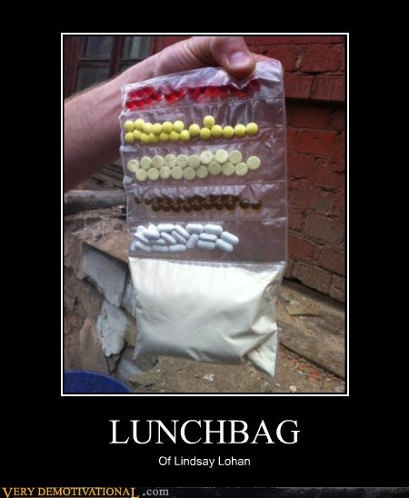 drugs lindsay lohan lunchbag Pure Awesome