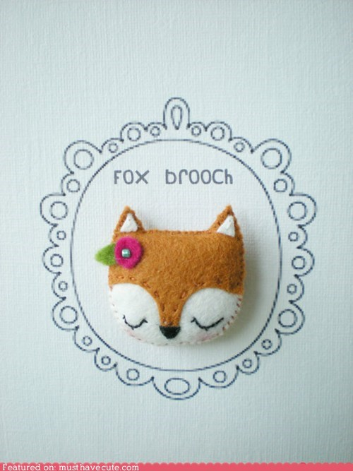 brooch,felt,Flower,fox,handmade
