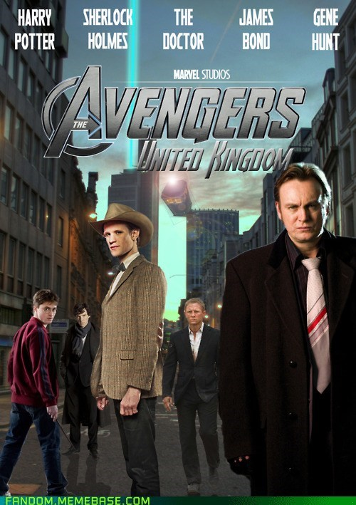 British,doctor who,gene hunt,Harry Potter,It Came From the Interwebz,james bond,sherlock holmes,The Avengers,UK