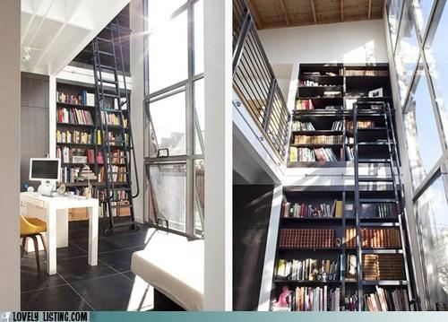 bookcase ladder shelves sunlight