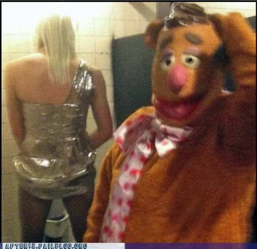 bathroom,drag queen,fozzy bear,public bathroom,restroom,the muppets,urinal,wakka wakka