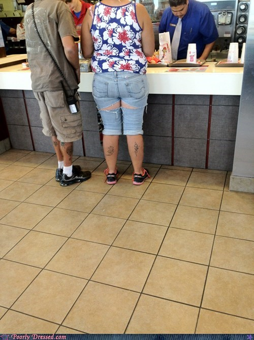 cutoffs,fast food,oh god why,shorts