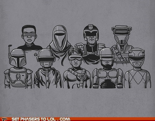 boba fett,cyclops,Fan Art,Geordi Laforge,power rangers,robocop,Star Trek,star wars,stripes,The Rocketeer,visors,x men