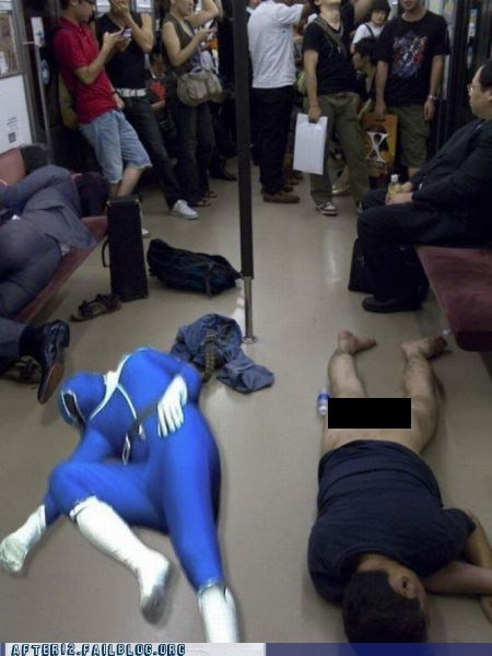 blackout no pants pant passed out power rangers Subway train - 6234448128