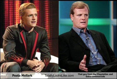 Peeta Mellark Totally Looks Like That guy from the Playstation and Geico commercials