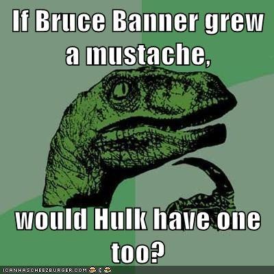 hulk mustache philosoraptor superheroes - 6235520256