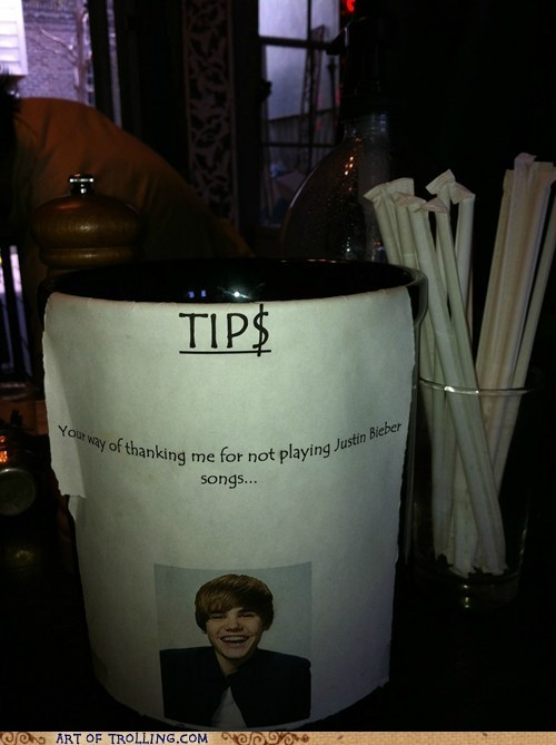 IRL justin bieber Music tip jar tips