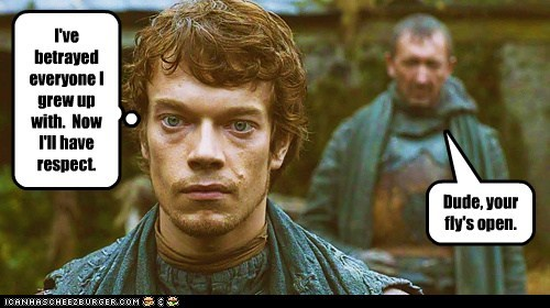 alfie allen,betrayal,embarrassing,fly,Game of Thrones,open,respect,theon greyjoy