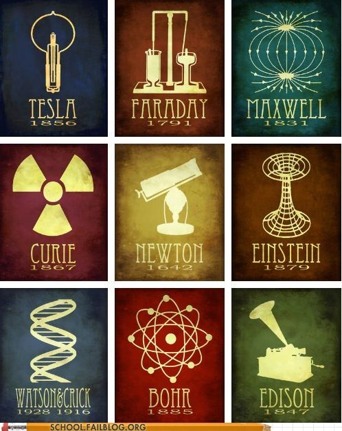 bohr curie edison einstein faraday maxwell Newton Nikola Tesla scientists watson and crick