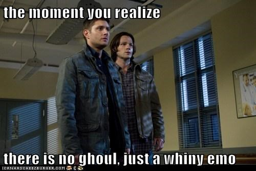 dean winchester,emo,ghoul,Jared Padalecki,jensen ackles,moment,realized,sam winchester,Supernatural,whiny