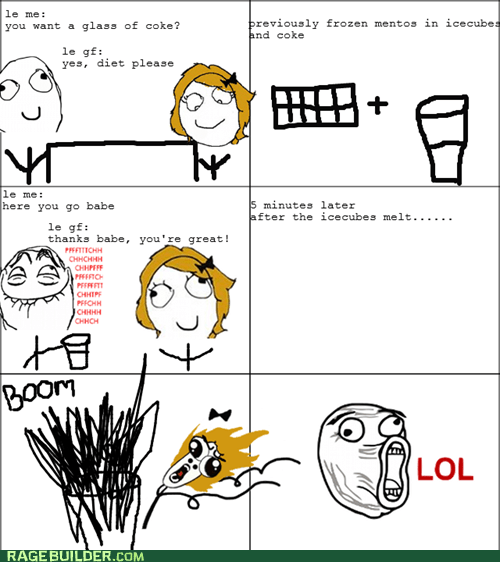 diet coke,FAIL,mentos,omg run,Rage Comics