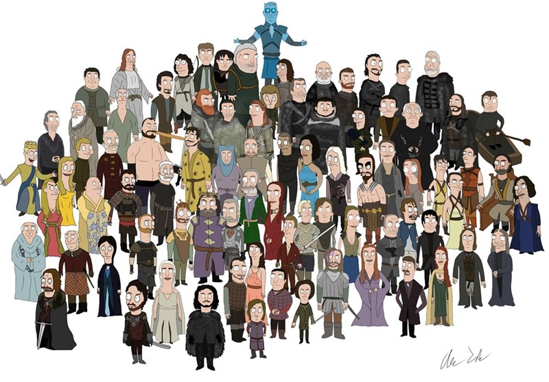 Combining the characters of the shows Game of Thrones and Bob's Burgers in a beautiful illustration.
