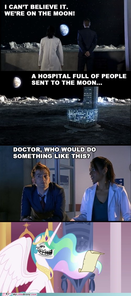 bananas,banished,celestia,comics,doctor who,the moon