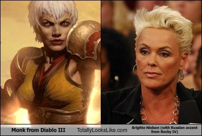 Monk from Diablo III Totally Looks Like Brigitte Nielsen (with Russian accent from Rocky IV)