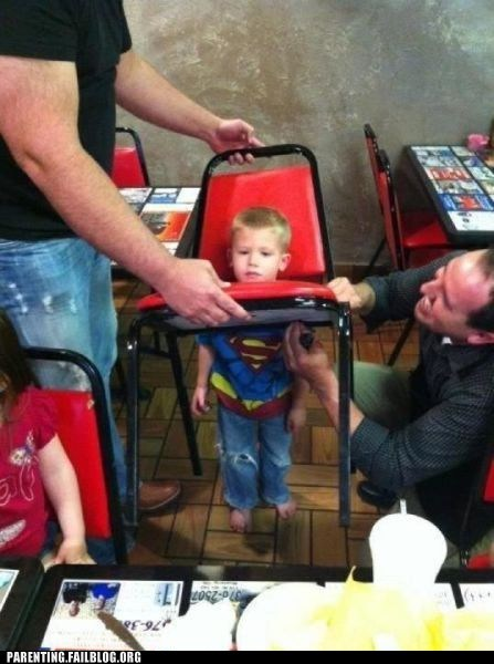chair,kid,stuck,superman