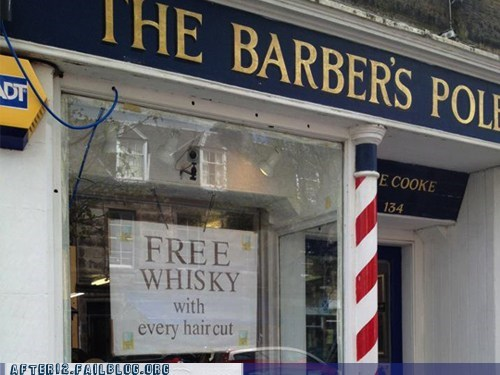 barber shop,free whiskey,free whisky with every ha,free whisky with every haircut,haircut,scotland,whiskey