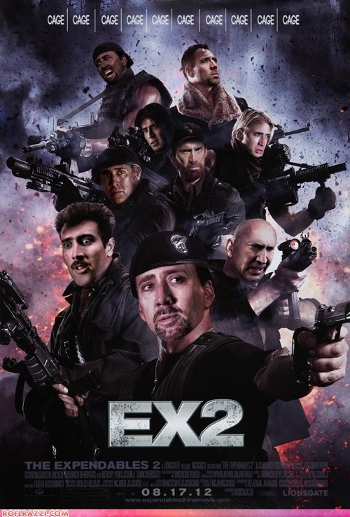 actor,celeb,fake,funny,Movie,nic cage,nicolas cage,poster,shoop,The Expendables