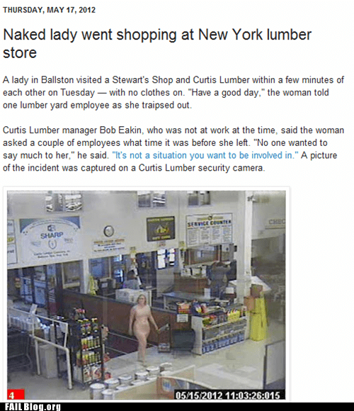 hardware store,naked woman,Probably bad News