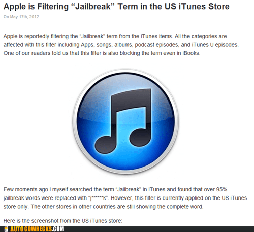 apple censoring itunes store jailbreak