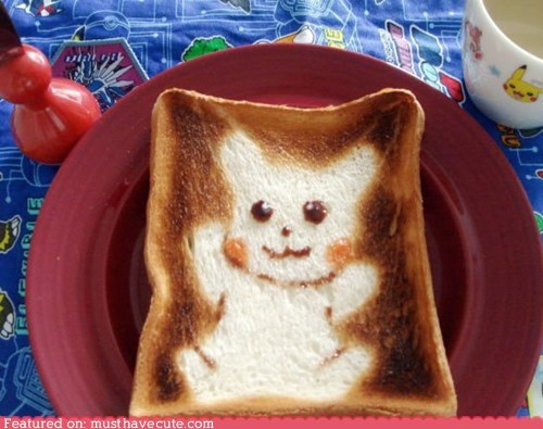 bread,character,design,epicute,pikachu,toast