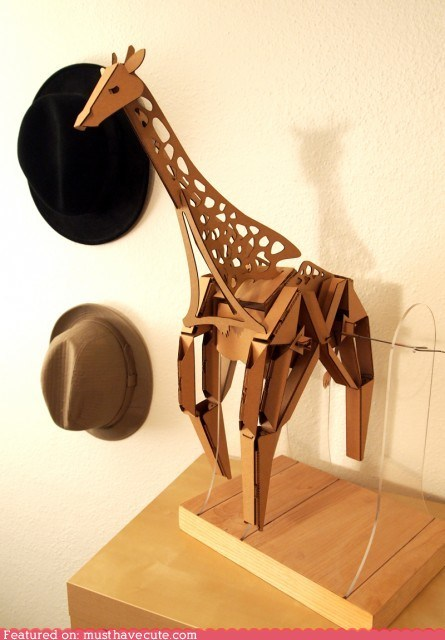 animal,cardboard,giraffes,kit,sculpture,walking