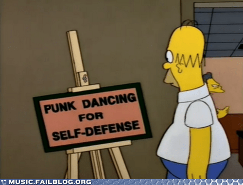 dancing,punk,self defense,simpsons,television,the simpsons,TV