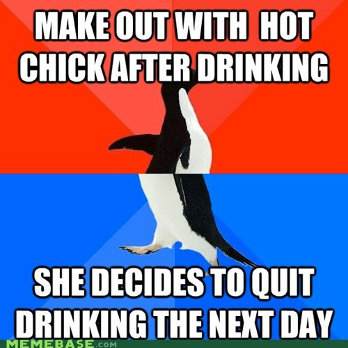 Awkward chick drinking socially awkward socially awkward penguin - 6237710336