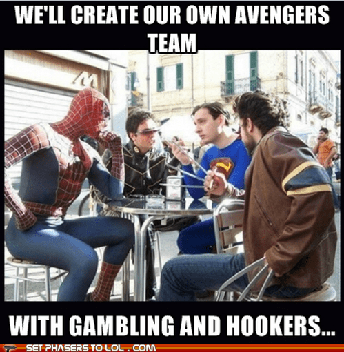 avengers,bender,blackjack,futurama meme,gambling,jealous,Spider-Man,wolverine,x men