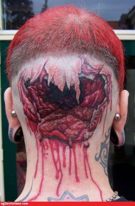 gore Hall of Fame head tattoo shotgun wound - 6238020096