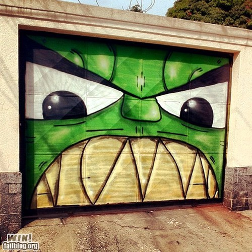garage,hacked irl,hulk,Street Art