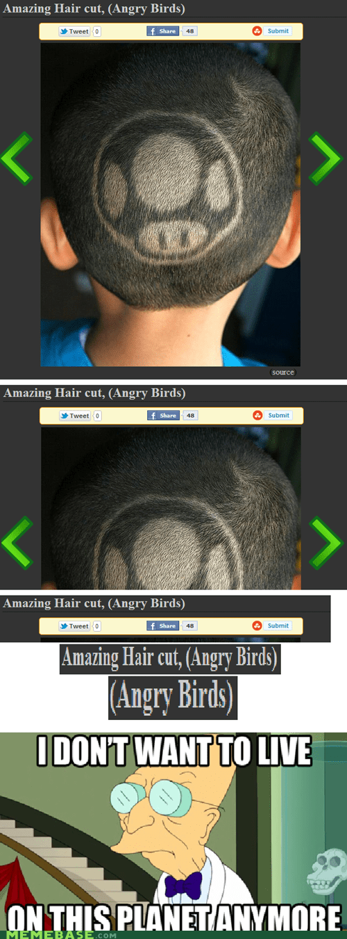 angry,birds,hair cut,Hardcore Gamerz,kid,mushroom