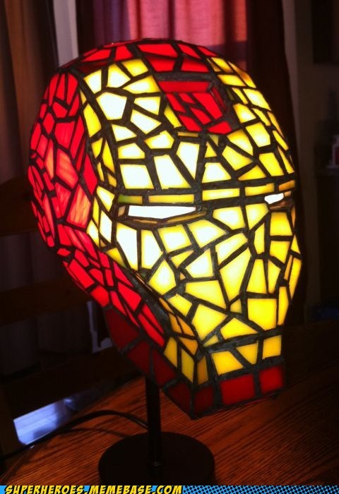 craft ironman lamp Random Heroics stained glass - 6238407936