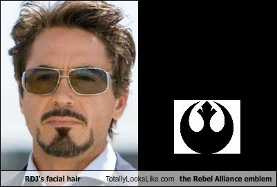 RDJ's facial hair Totally Looks Like the Rebel Alliance emblem
