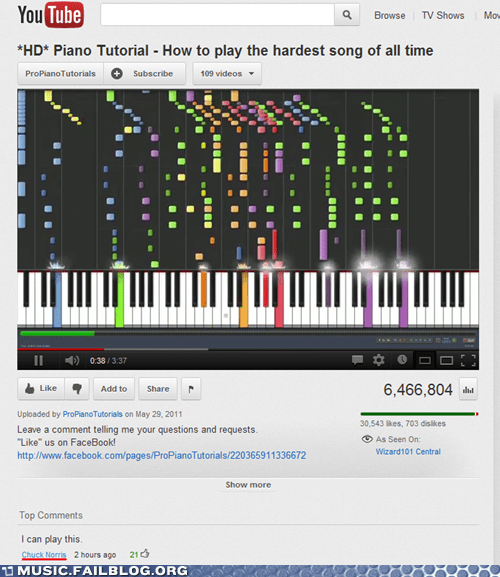 chuck norris comment piano youtube comment