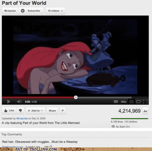 ginger Harry Potter The Little Mermaid weasley youtube - 6238716928