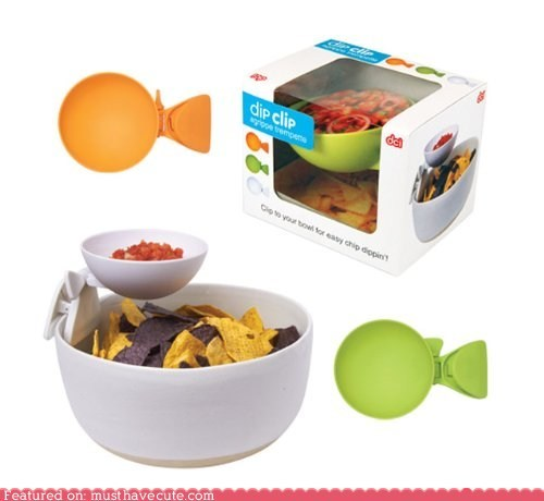 bowl chips clever clip dip queso salsa smart snack - 6238974208