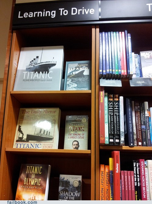 bookstore,hindenburg,learning to drive,titanic