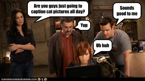 all day,allison scagliotti,artie nielsen,caption,cat pictures,claudia donovan,computer,eddie mcclintock,joanne kelly,lolcats,myka bering,pete latimer,saul rubinek,warehouse 13,yup