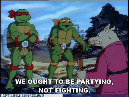 donatello fighting leonardo michelangelo partying raphael splinter teenage mutant ninja turt teenage mutant ninja turtles TMNT - 6240373504