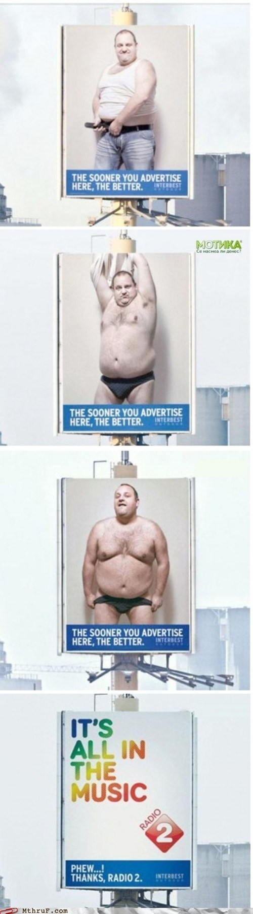 advertisement advertising billboard fat guy fat man