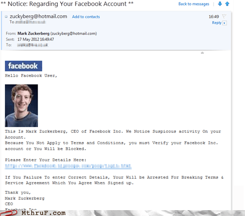 email facebook fb g rated Mark Zuckerberg monday thru friday nigeria phishing scam