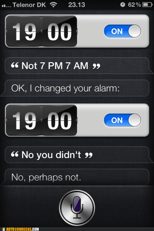 alarm,AutocoWrecks,g rated,given up,sassy siri,setting an alarm,siri