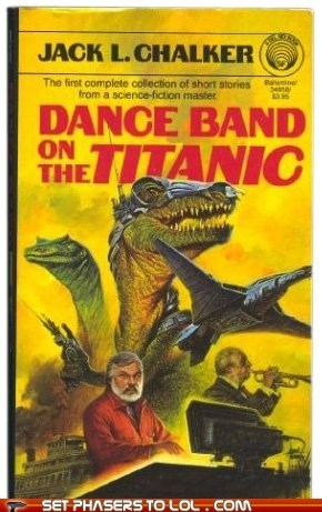 airplanes,book covers,cover art,dinosaurs,science fiction,titanic,wtf