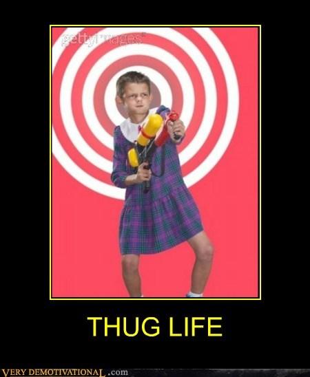 dress,hilarious,kid,squirt gun,thug life,wtf