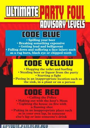 code black,code blue,code red,code yellow,party fouls,poster
